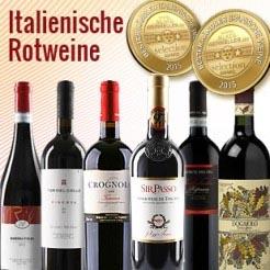 6 Fl. Probierpaket - Bester Weinhändler Deutschlands 2015 –  Italienische Rotweine