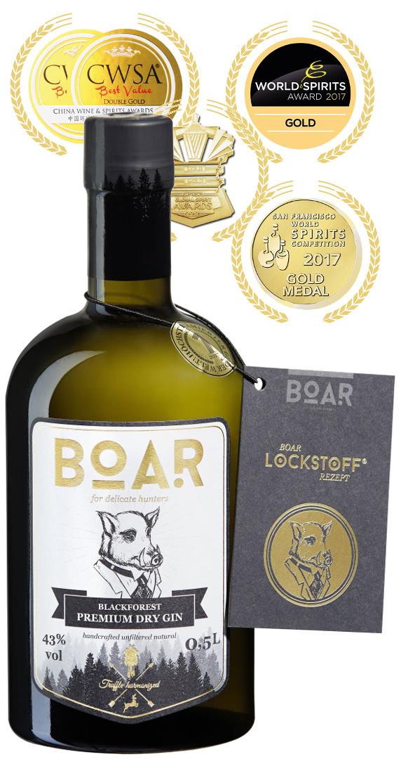 Produktbild zu BOAR Premium Dry Gin von BOAR Distillery im Schwarzwald