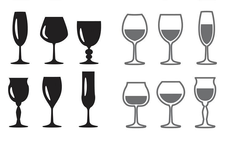 Weingläser in unterschiedlichen Formen