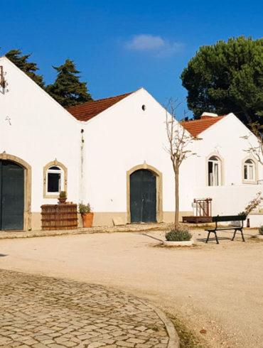 Weiße Hausfront mit Innenhof