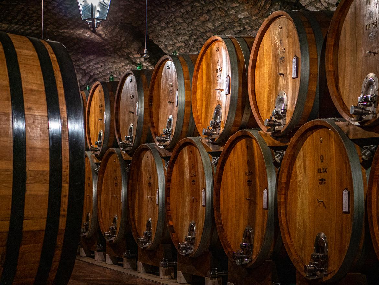 Holzfässer in Weinkeller liegend