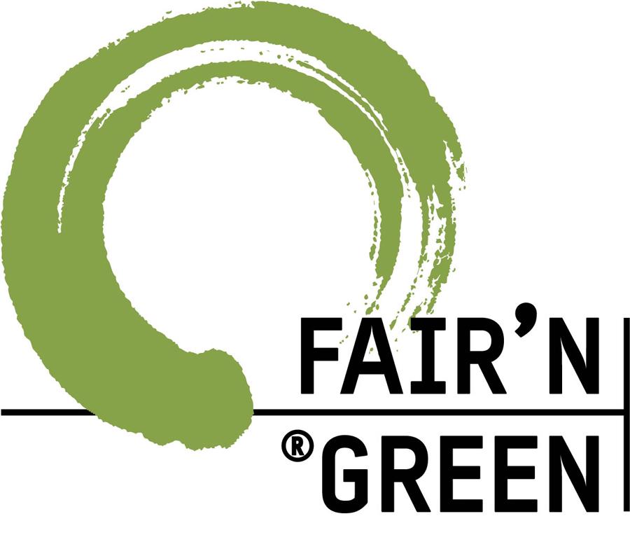 Logo mit grünem Kreis und schwarzem Schriftzug