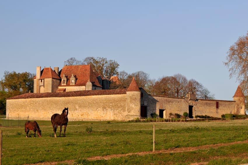 Schloss mit großem Feld im Vordergrund
